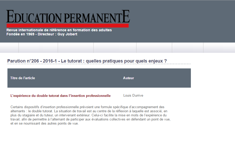 Article de Louis DURRIVE sur le double tutorat dans la revue Education Permanente